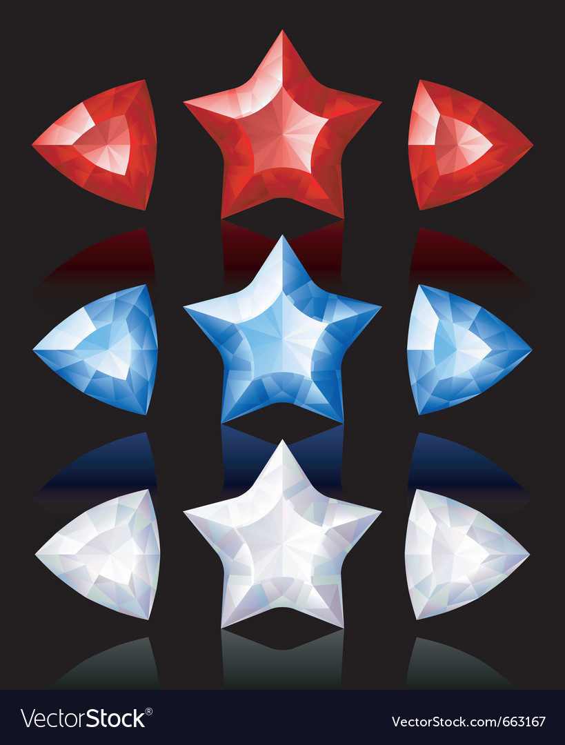 Jewelry icons of stars and arrows vector