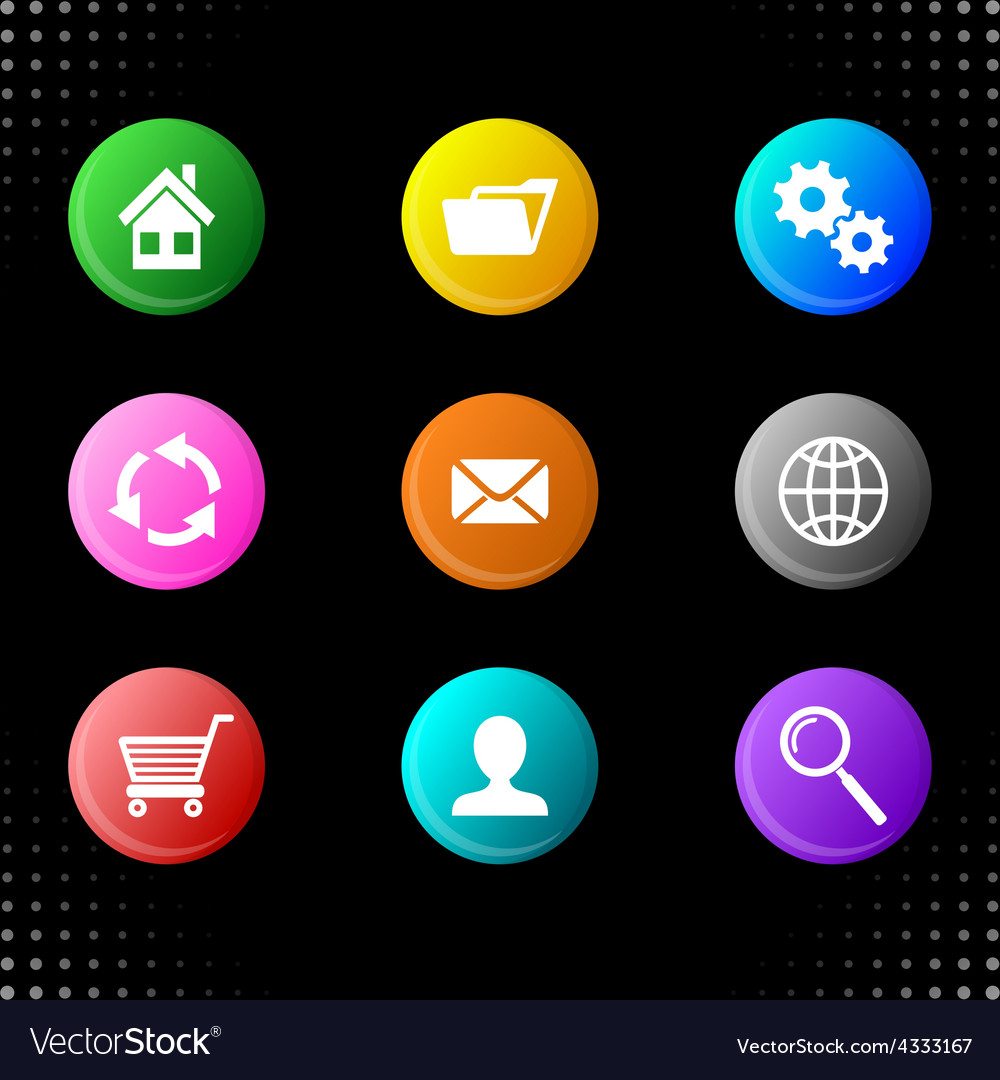 Round website icons vector