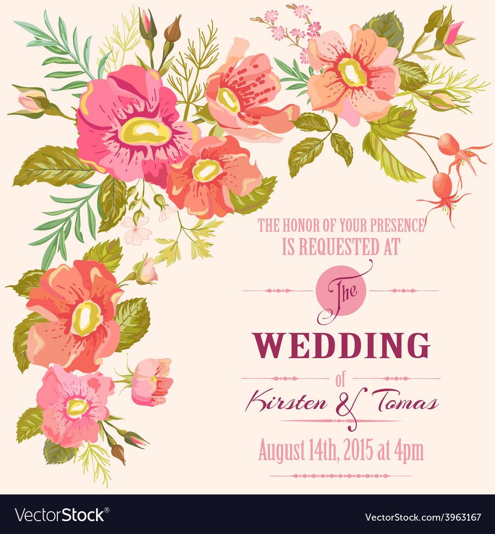 Wedding floral invitation card - save the date vector