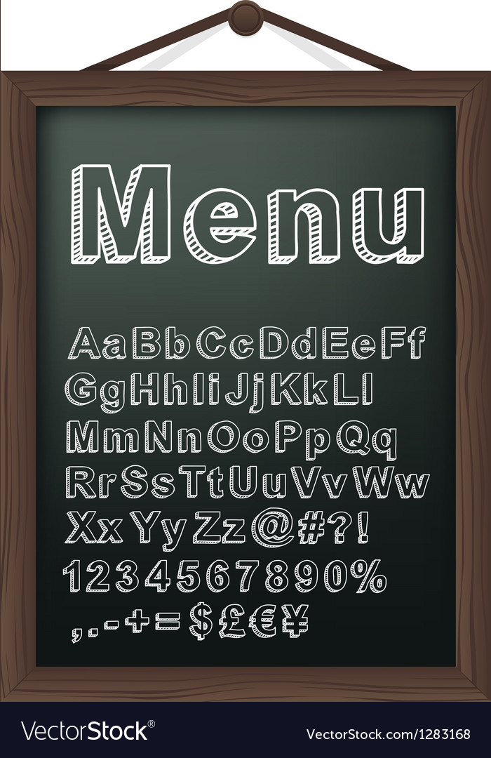 Cafe menu board with chalk alphabet vector