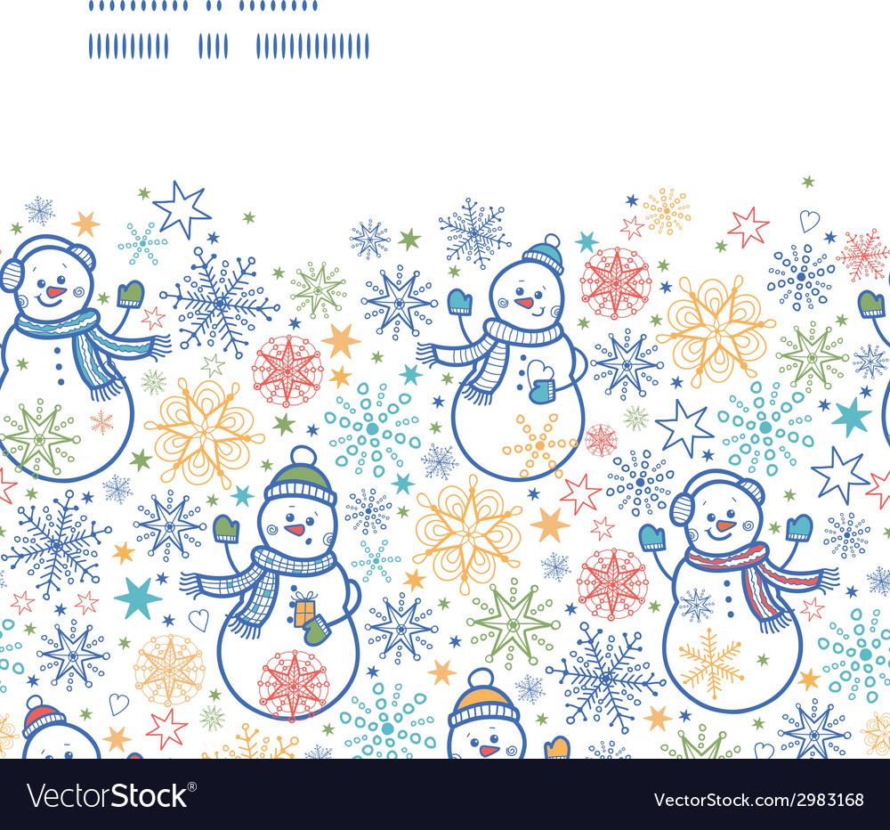 Cute snowmen horizontal frame seamless pattern vector