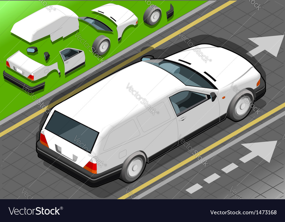 Isometric white station wagon car vector