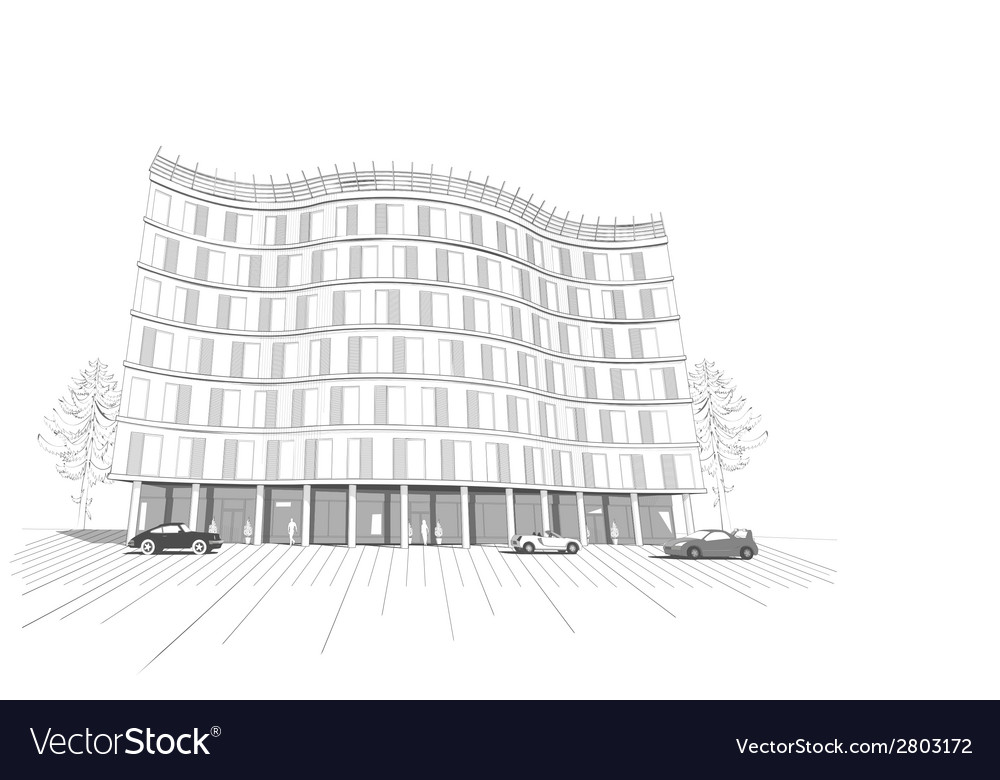 Linear multistory apartment or office building vector