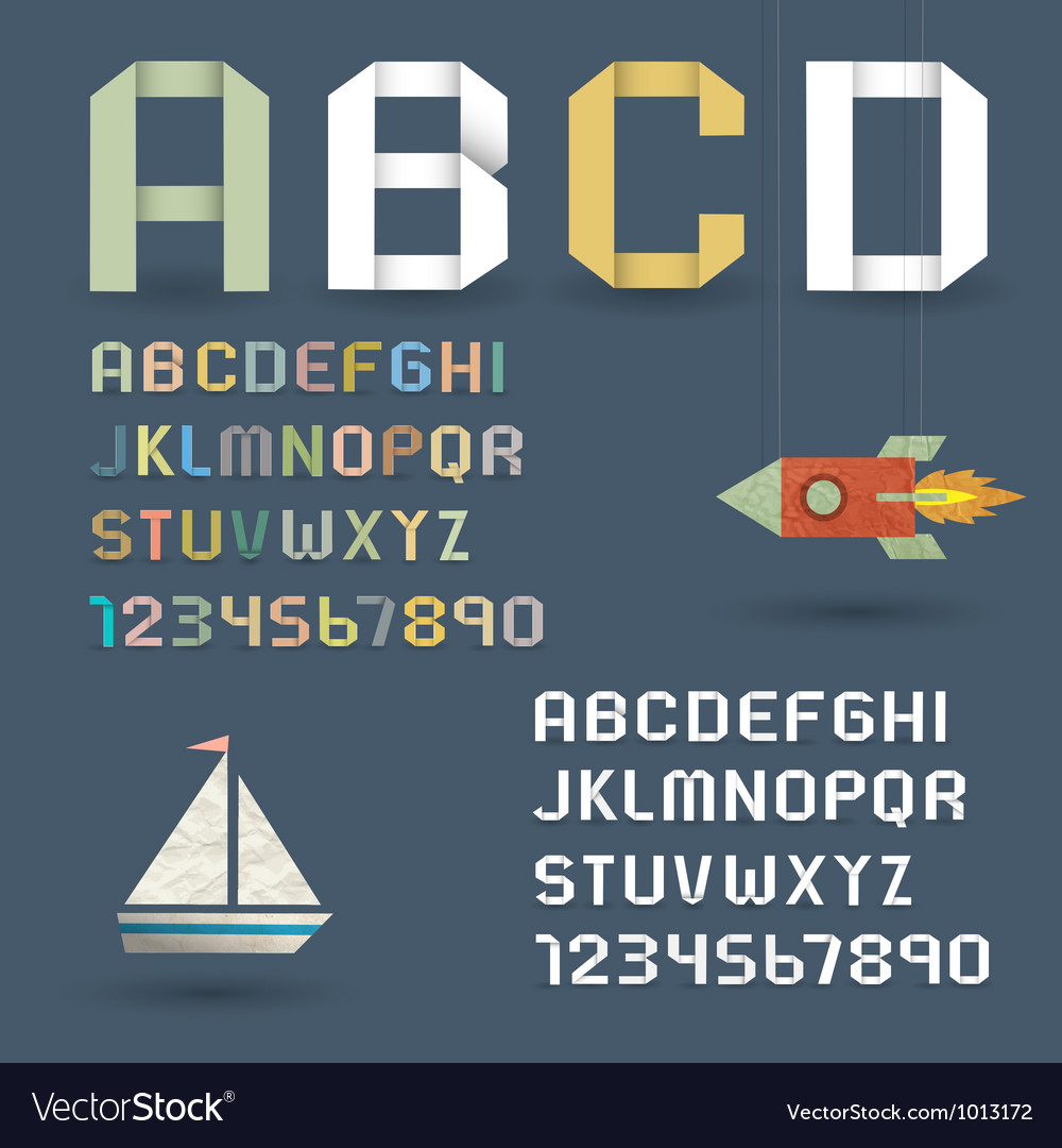 Origami alphabet with numbers vector