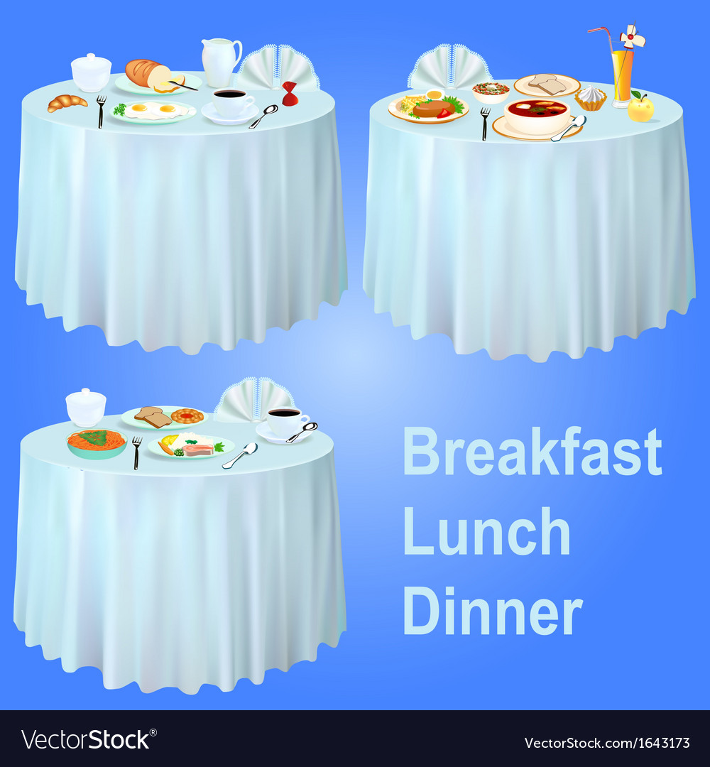 Breakfast lunch dinner on the table vector