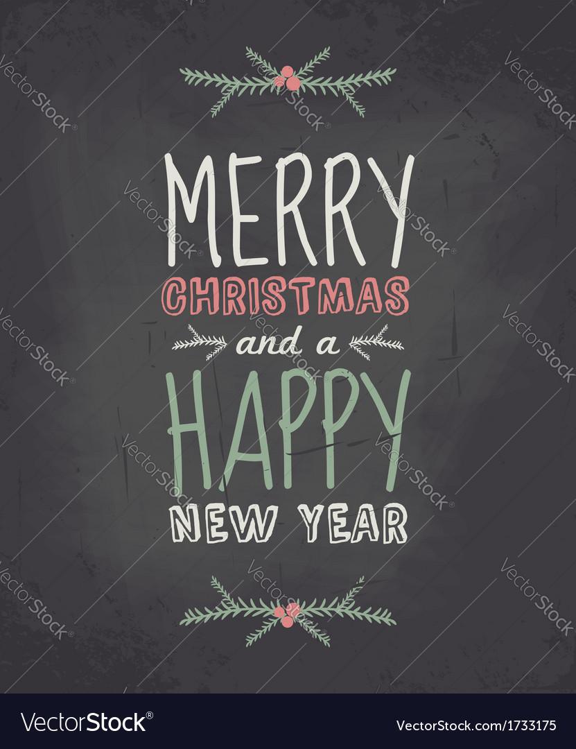Chalkboard style vintage christmas greeting card vector