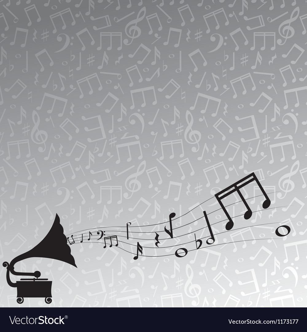 Gramophone and melody vector