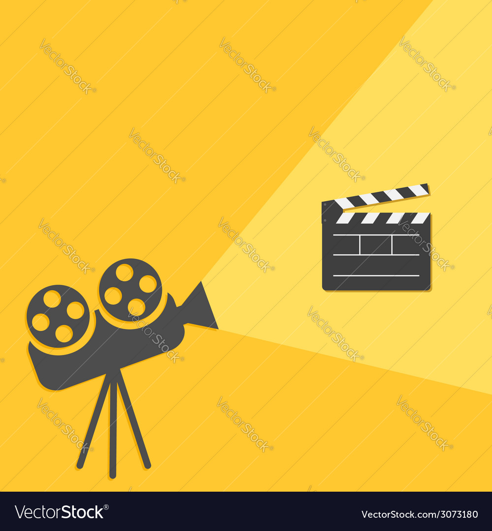 Cinema projector with light open movie clapper vector