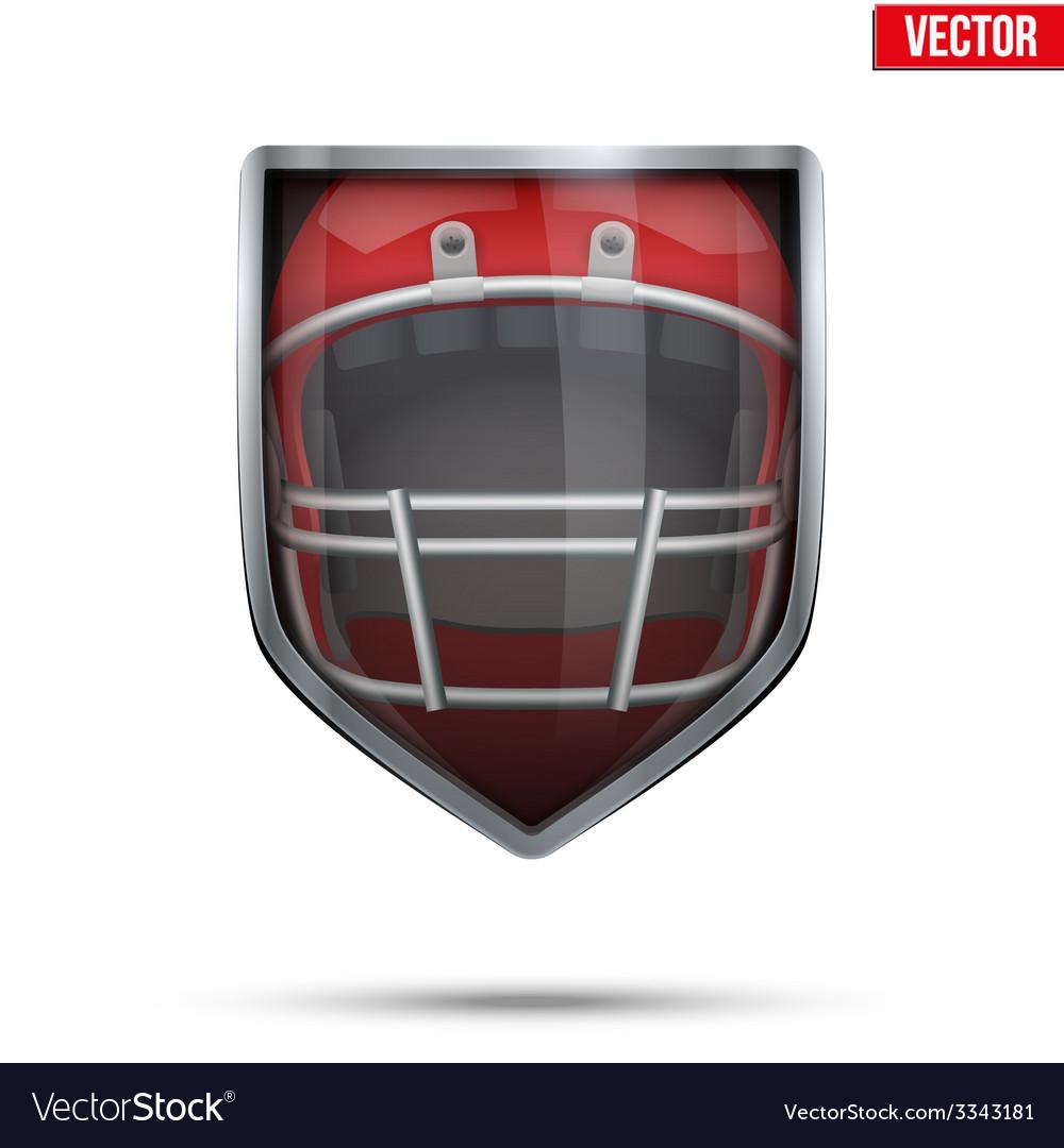 Bright shield in the american football helmet vector