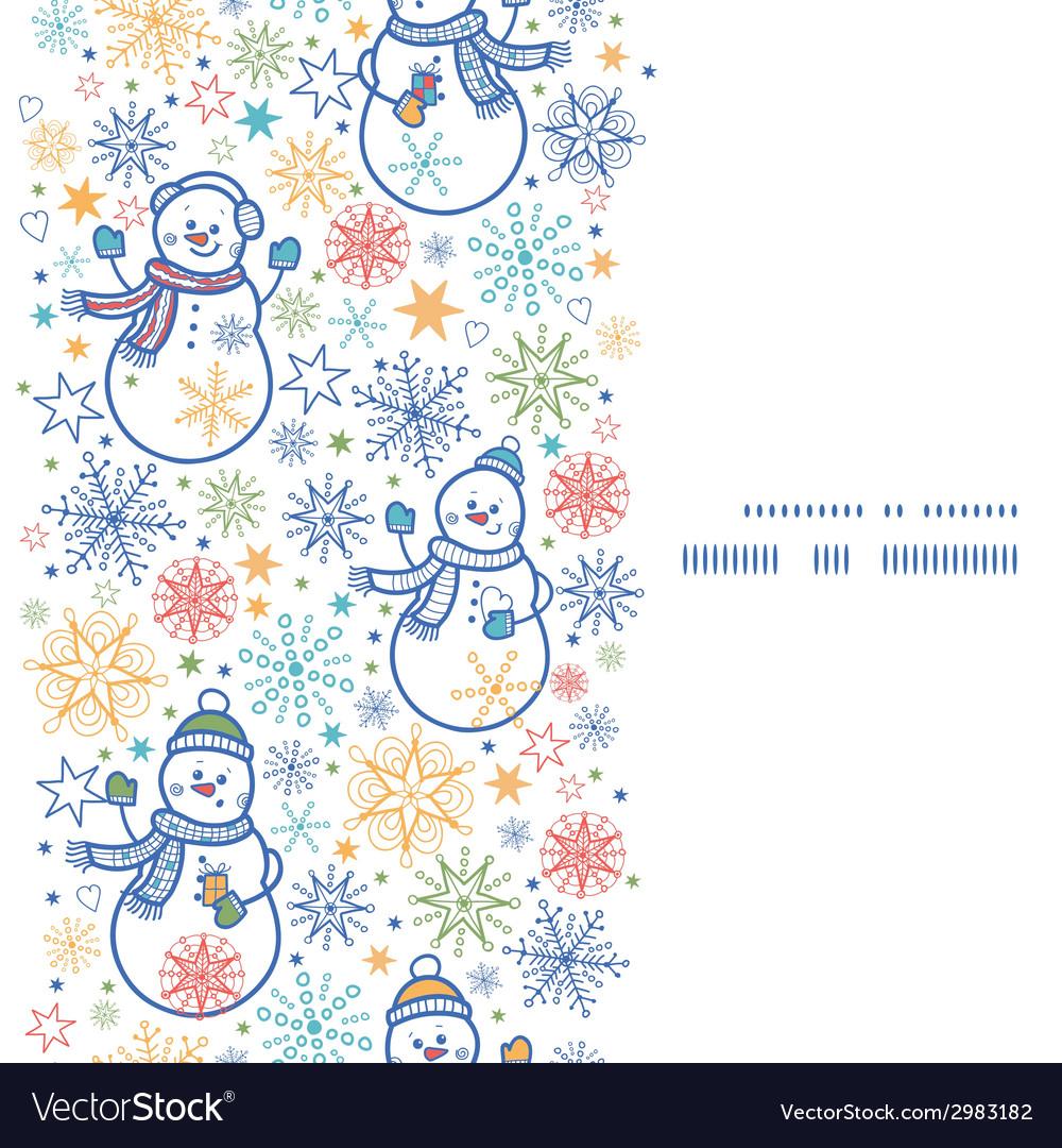 Cute snowmen vertical frame seamless pattern vector