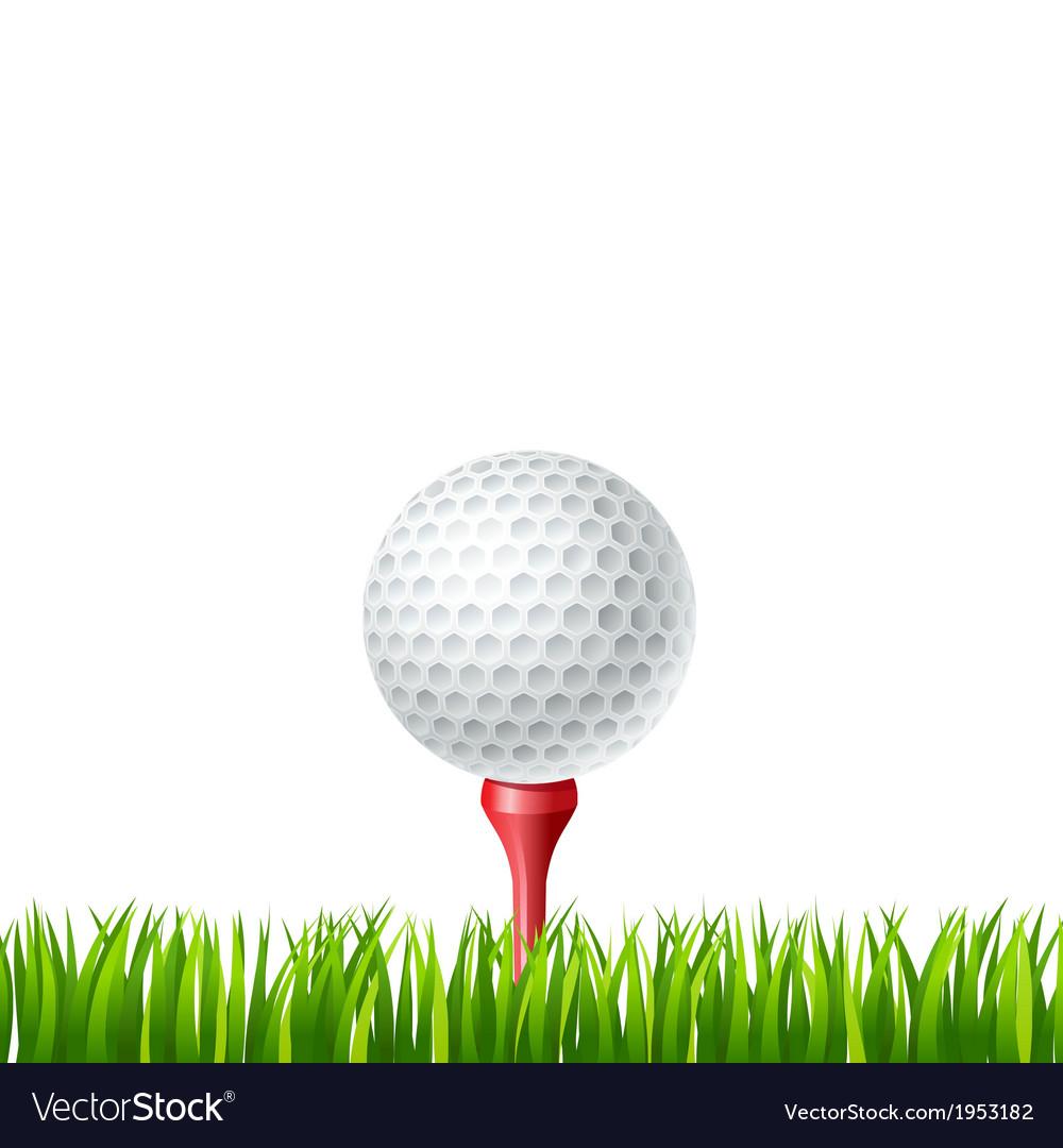Golf ball on a tee vector