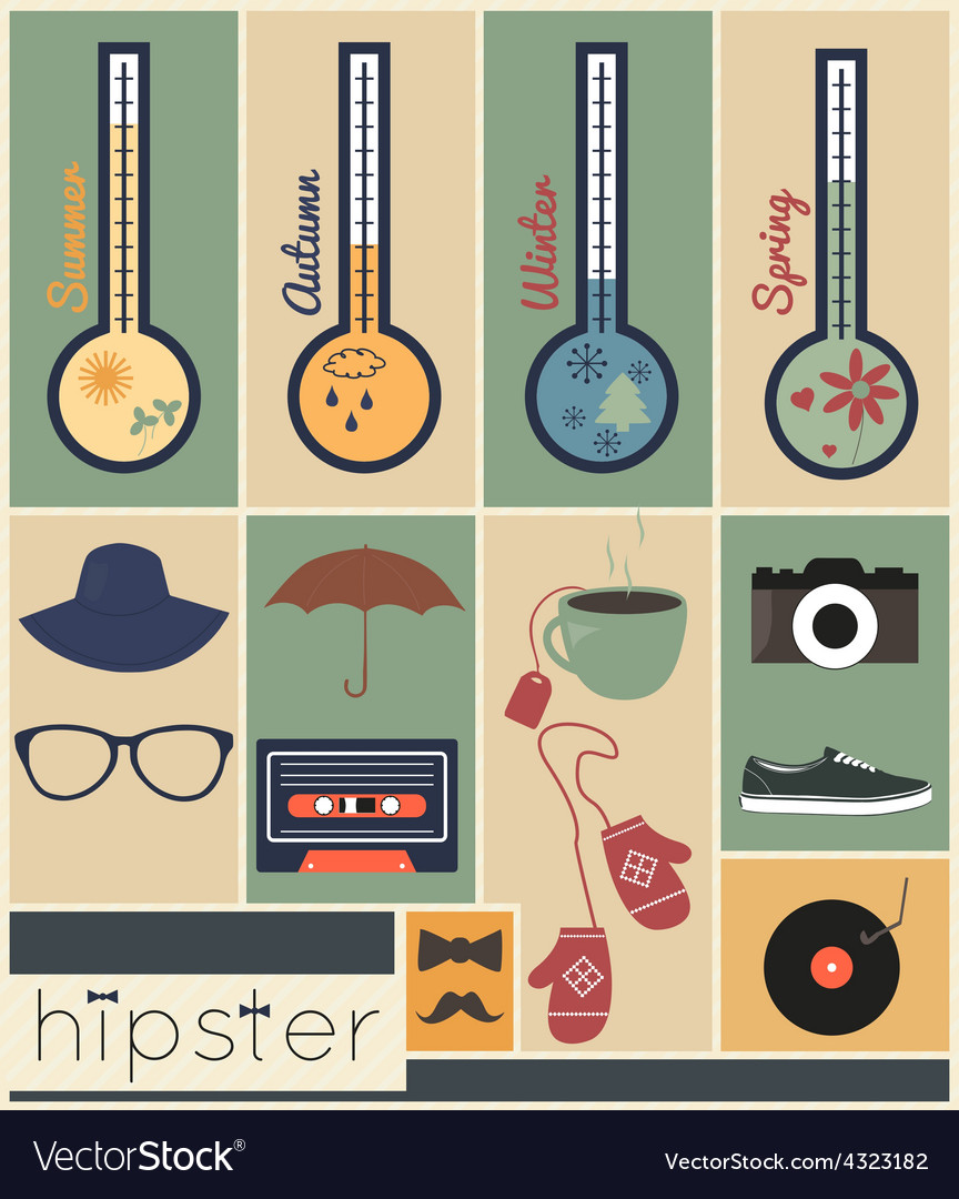 Hipster seazons vector