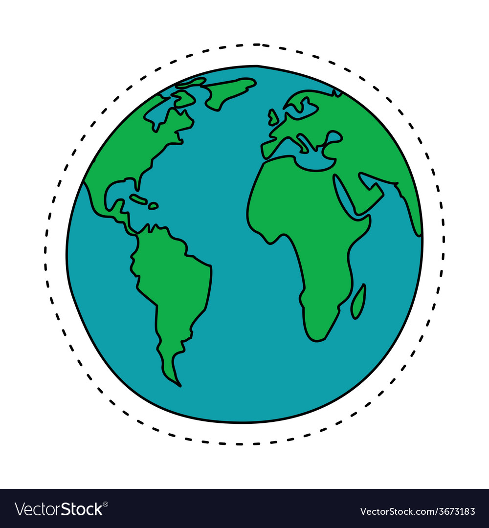 Earth in cartoon style north america south america vector