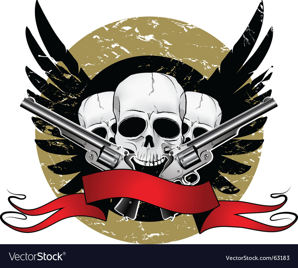Skulls with pistols vector