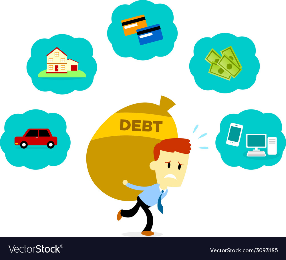 Man with his debt vector