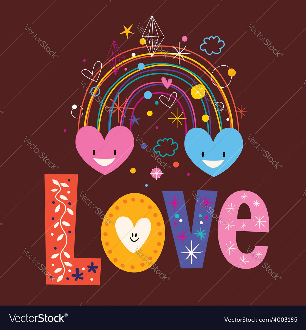 Rainbow hearts word love retro typography vector