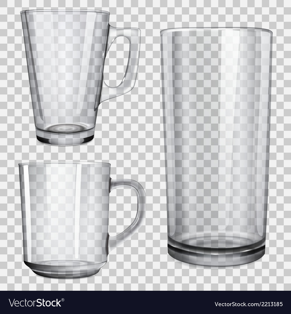 Transparent glass cups and one glass for juice vector