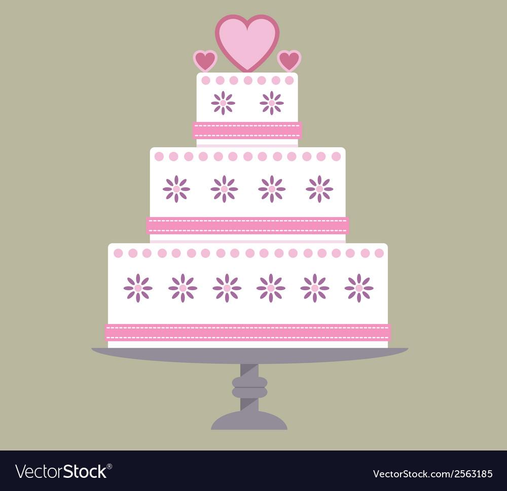 Wedding cake pink ribbon vector