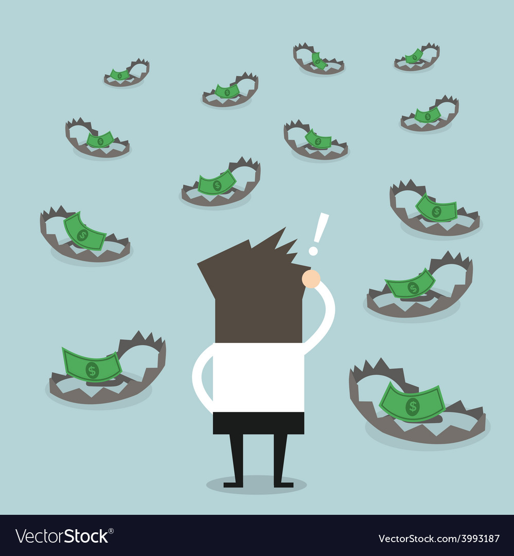 Businessman look at money on trap vector