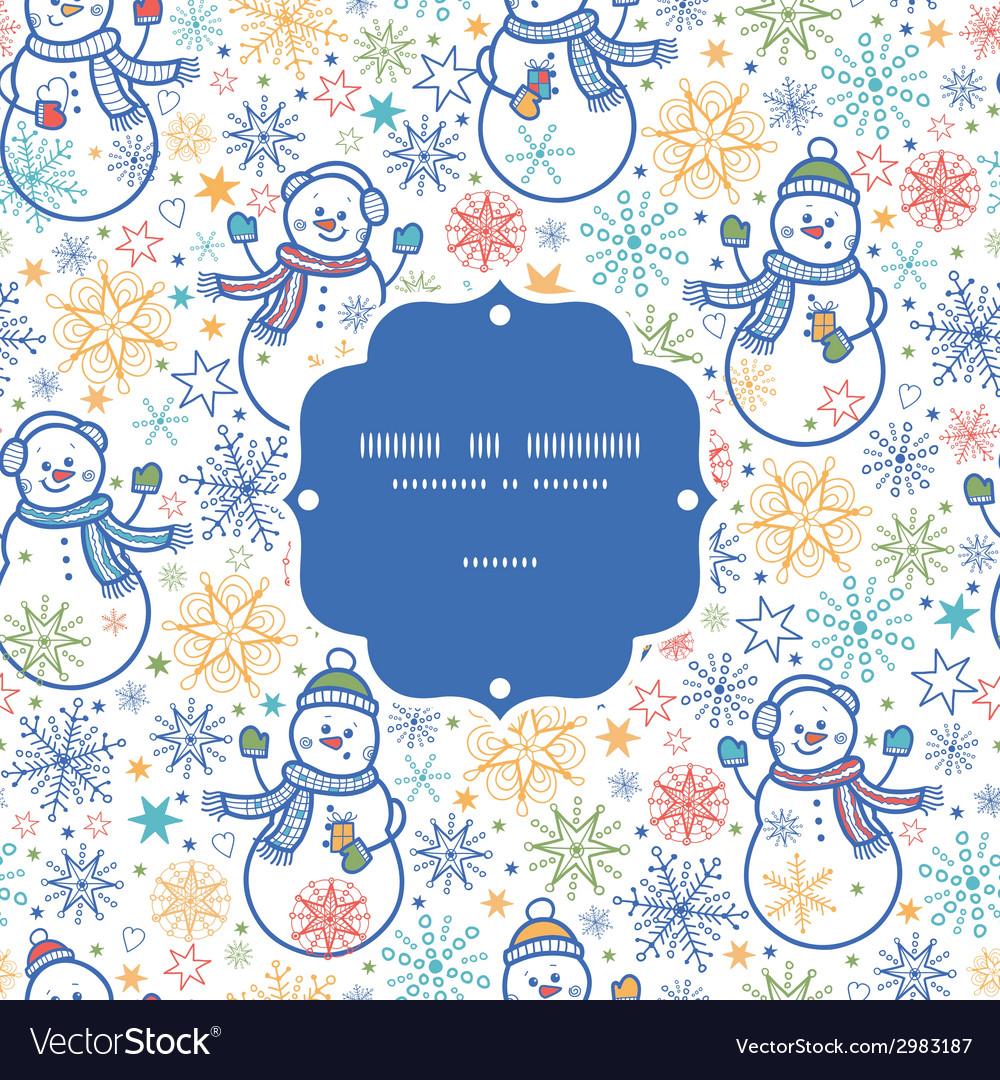 Cute snowmen frame seamless pattern background vector