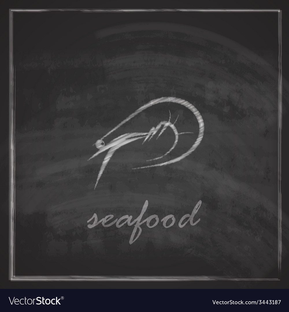 Vintage with a prawn on blackboard background vector