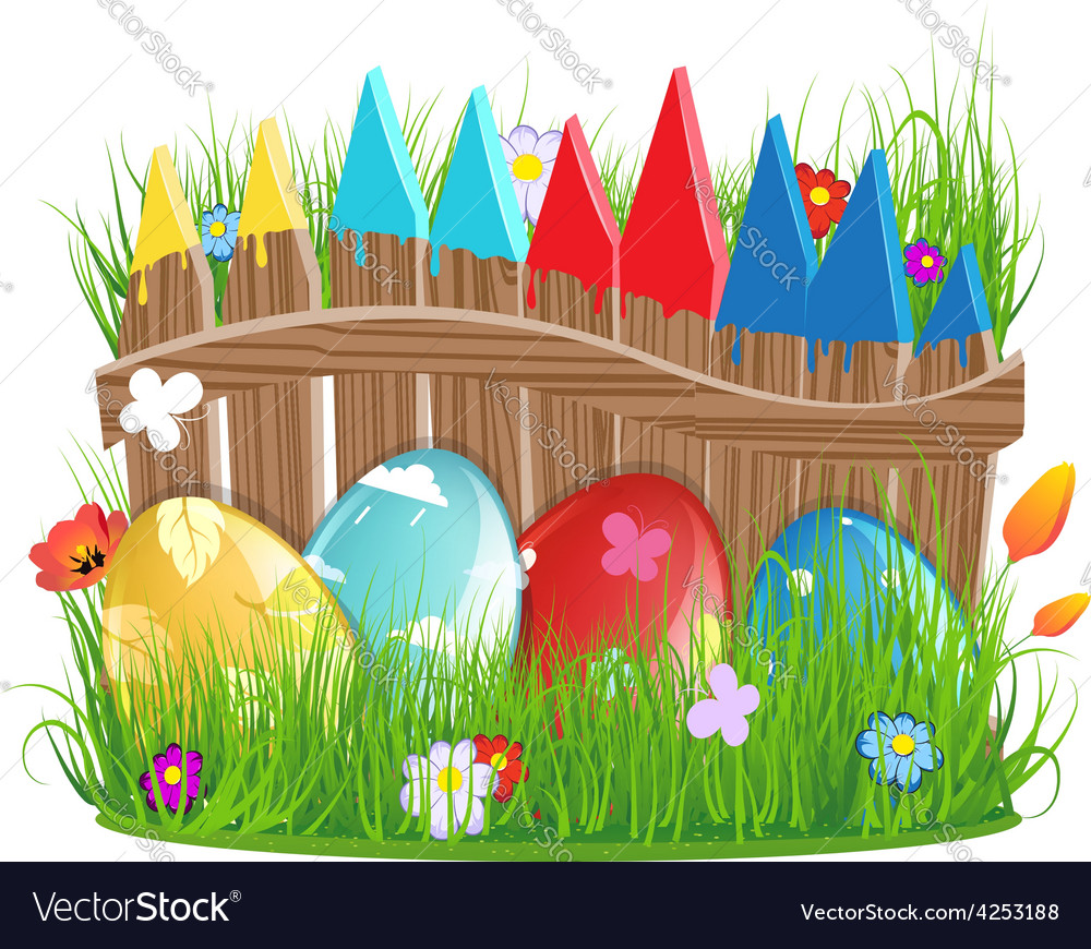 Easter eggs near a wooden fence vector