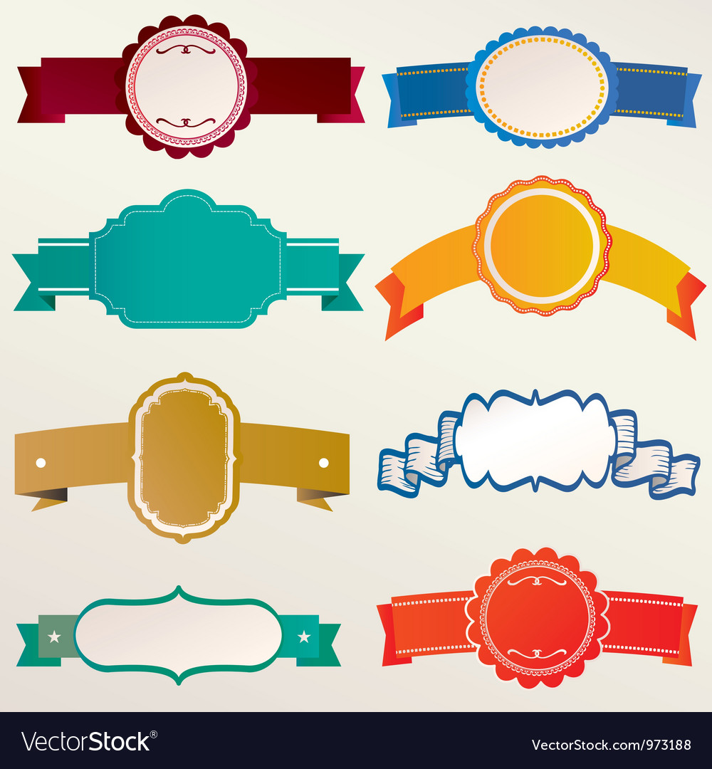 Frame labels ribbon set vintage vector