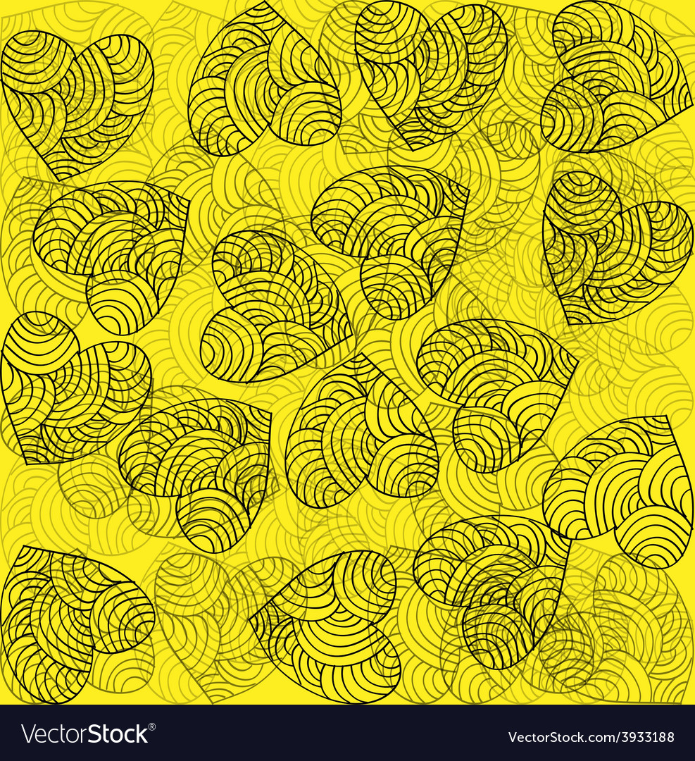 Heart decoration festive bright yellow background vector