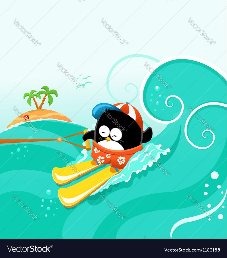 Water skiing penguin vector