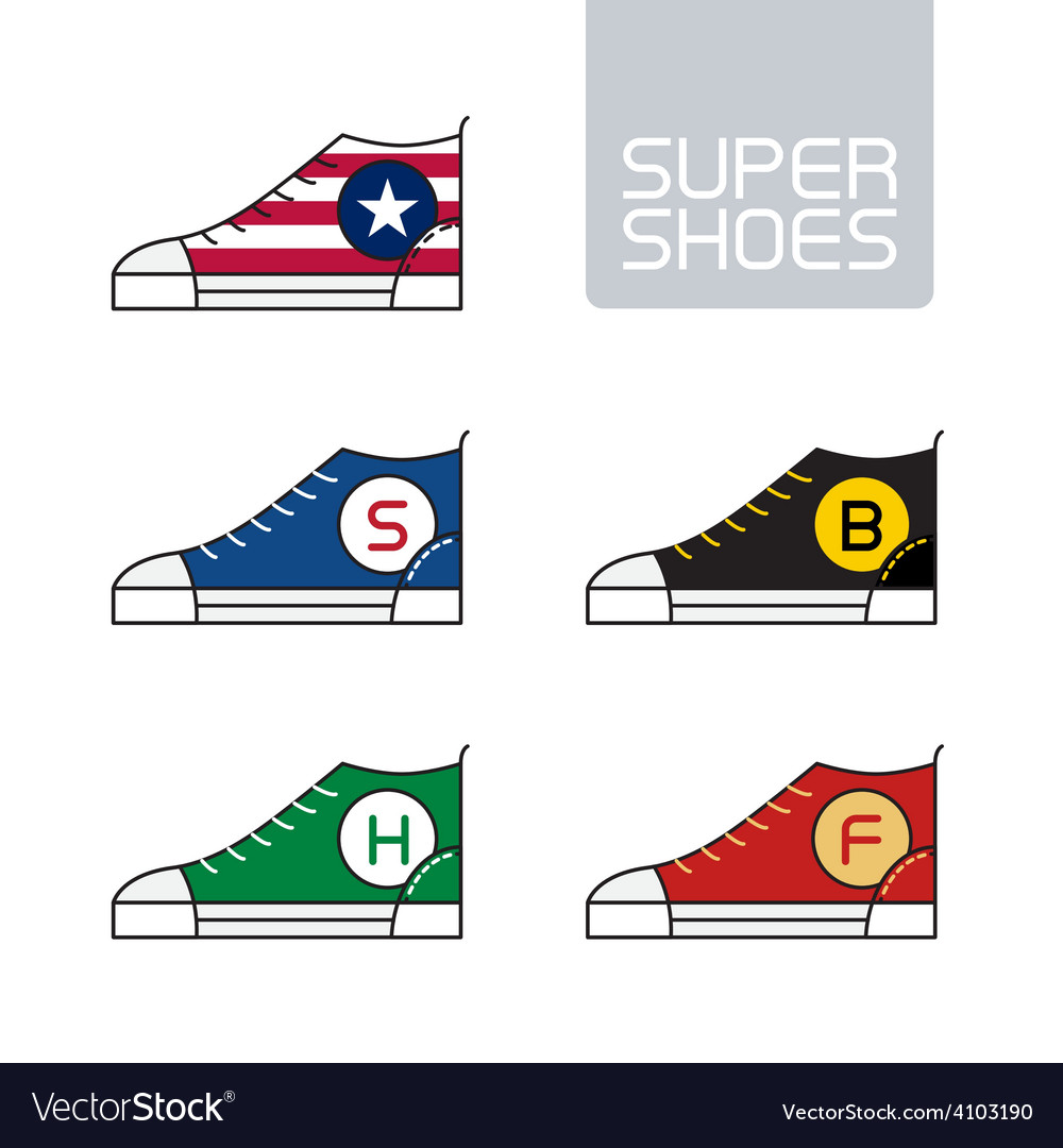 Outline urban super shoes stylized sneakers sport vector