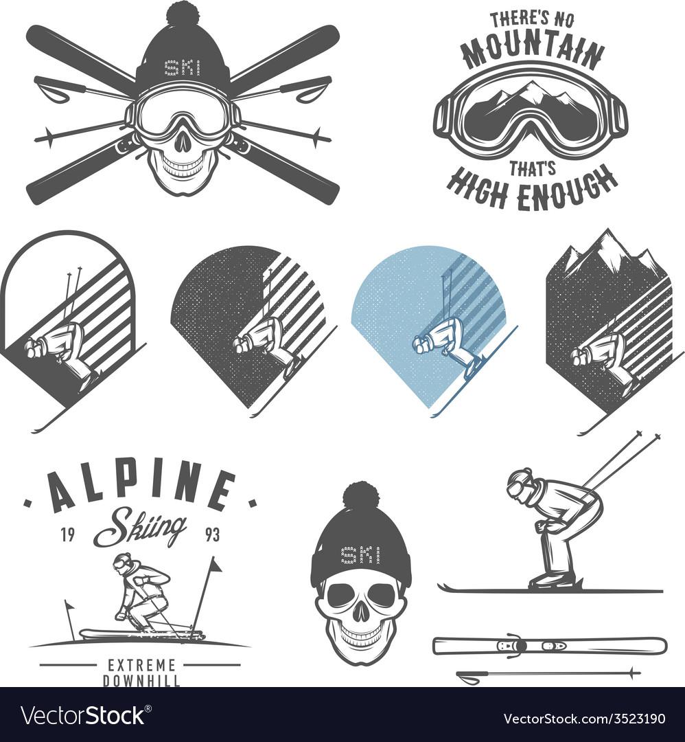 Set of retro ski emblems badges and design elemen vector