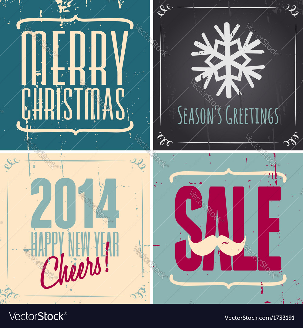 Vintage style christmas greeting cards collection vector