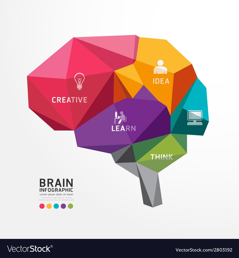Brain design conceptual polygon style vector