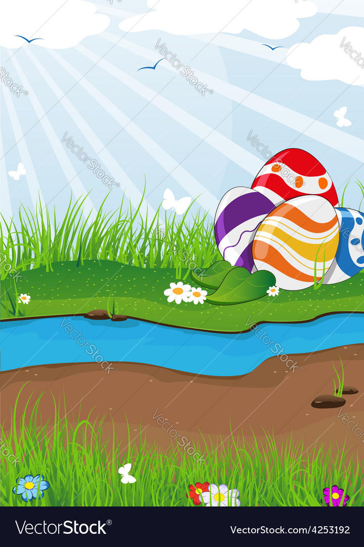 Easter eggs near the creek vector