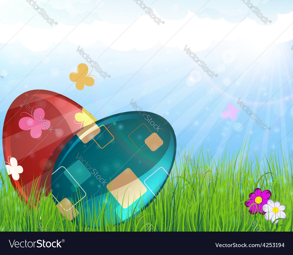 Easter eggs on meadow vector