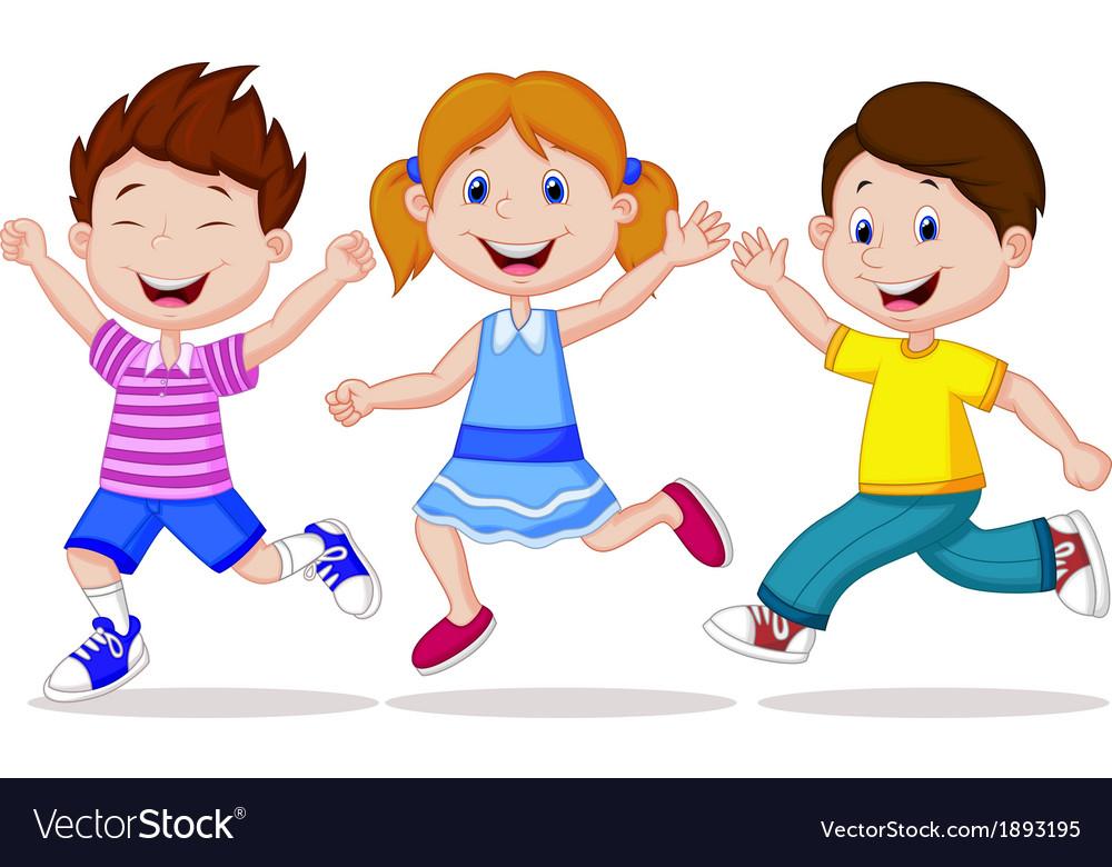 Happy children cartoon running vector