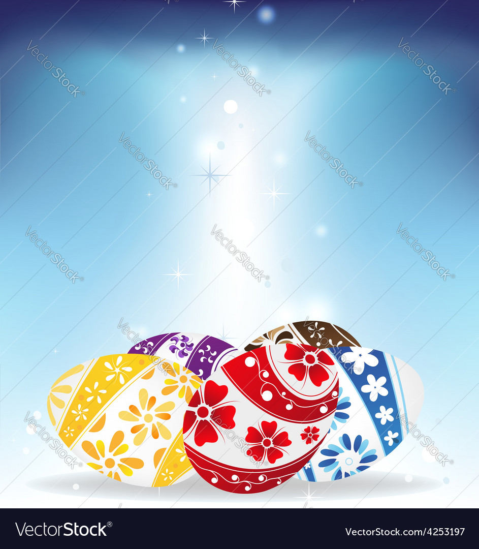 Easter eggs on shining background vector