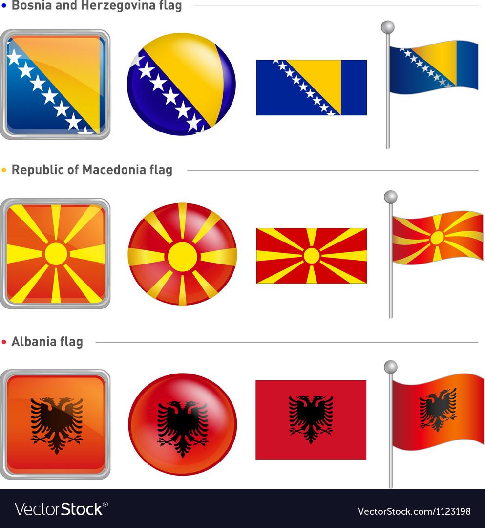 Bosnia and herzegovina macedonia and albania flag vector