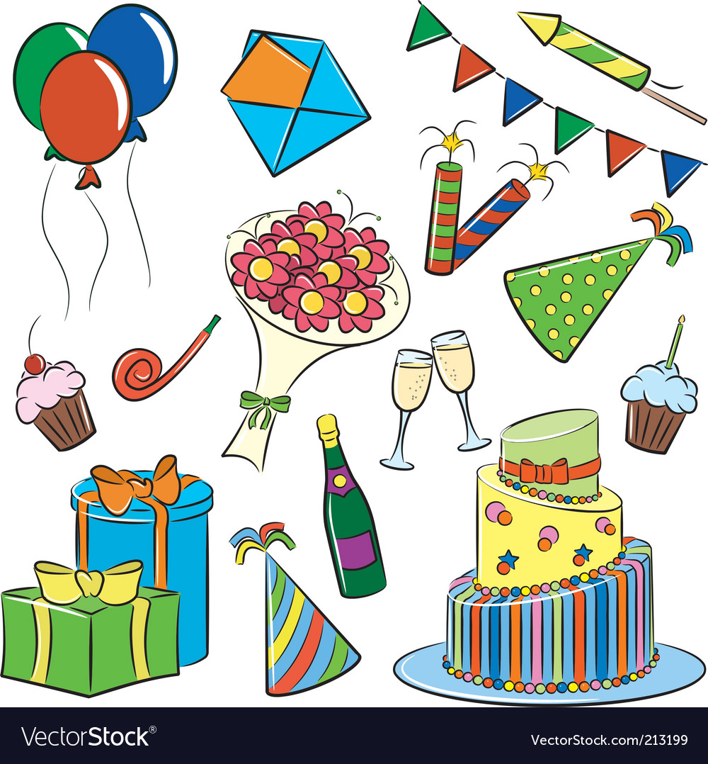 Birthday and party doodle vector