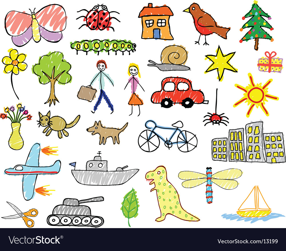 Child drawings vector