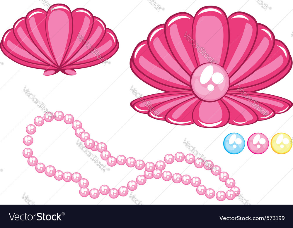 Marine clam with a pearl vector