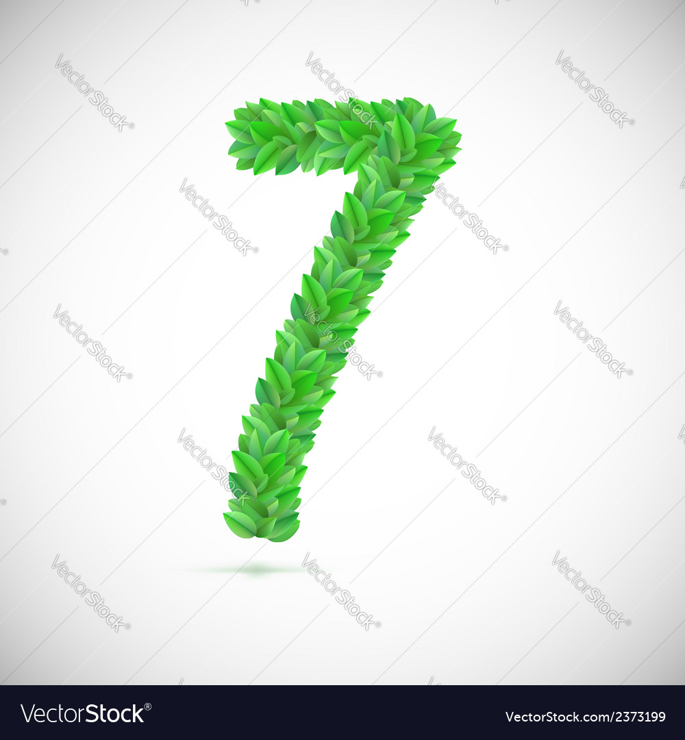 Number seven made up of green leaves vector