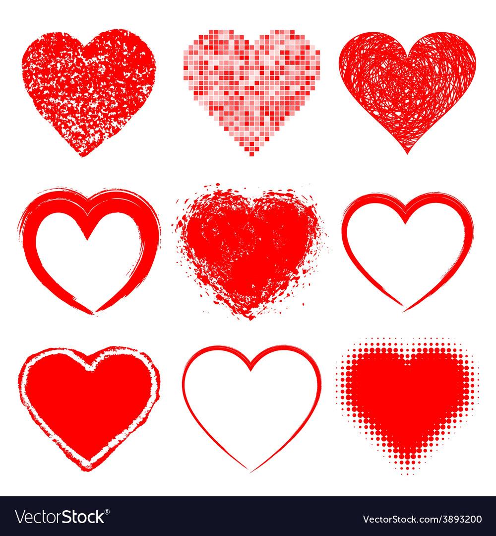 Set of hand drawn grunge hearts vector