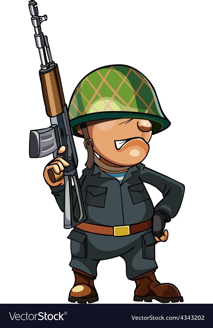 Cartoon man soldier in a helmet with a gun vector