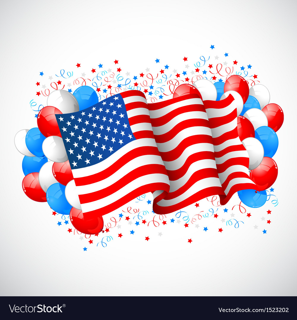 Colorful balloon with american flag vector