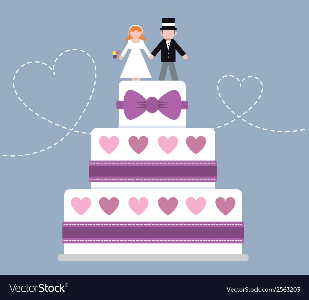 Wedding cake purple ribbon vector