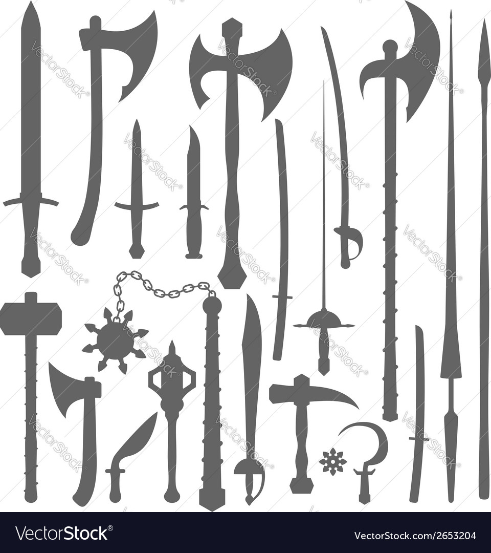 Medieval weapons silhouette set vector