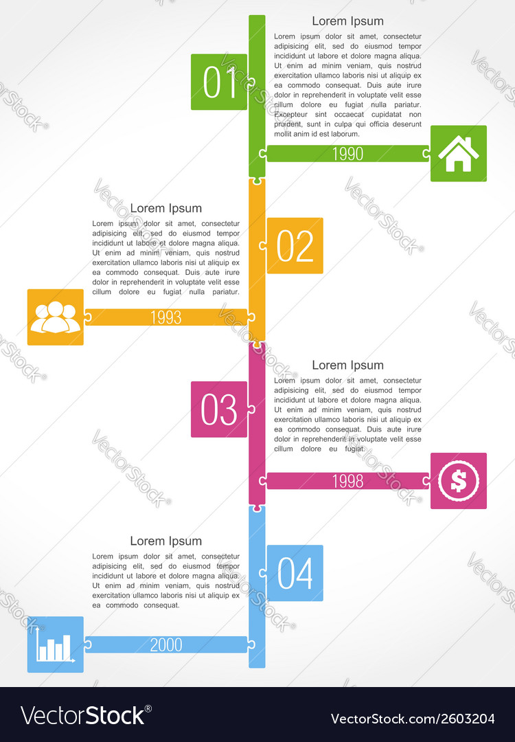 Timeline puzzle design vector