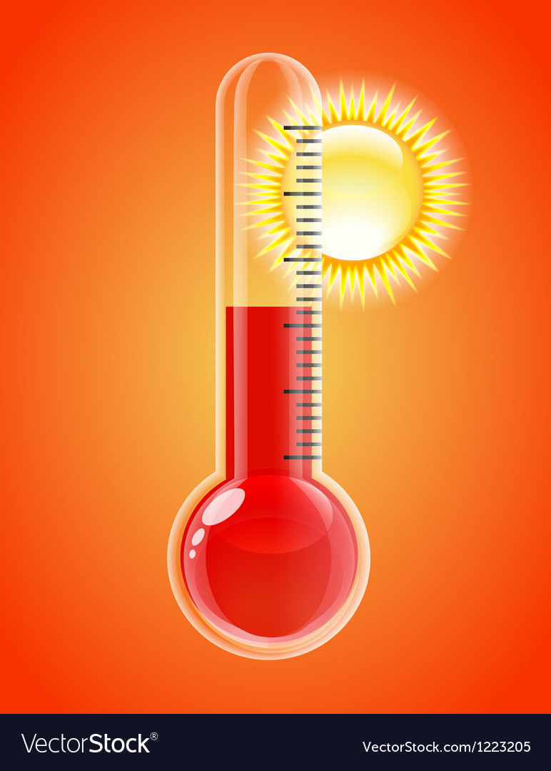 Thermometer with sun hot weather vector