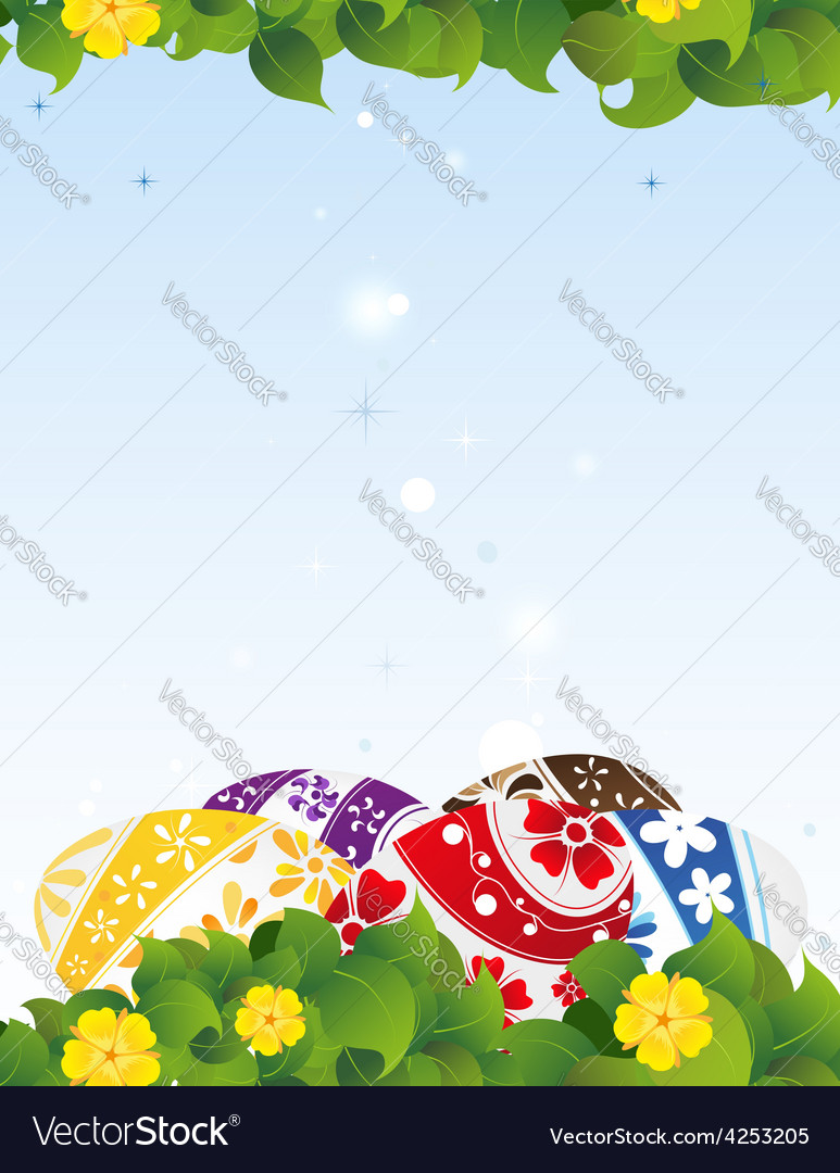 Painted eggs on a blue background vector